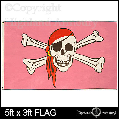 5' x 3' FLAG Pink Pirate Skull and Crossbones Large