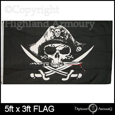 5' x 3' FLAG Pirate Skull and Cross Swords Jolly Roger